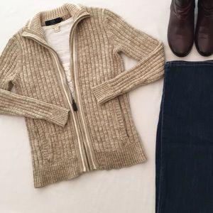 J. Crew Factory Zip Front Cardigan Style Sweater